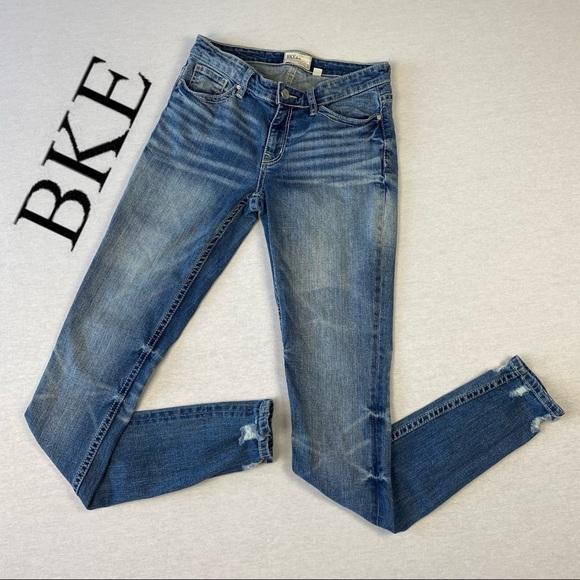 BKE Payton Skinny Distresses Frayed Denim Jeans